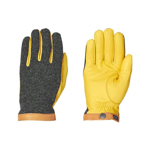 Hestra Deerskin Wool Tricot Gloves - Grey / Yellow