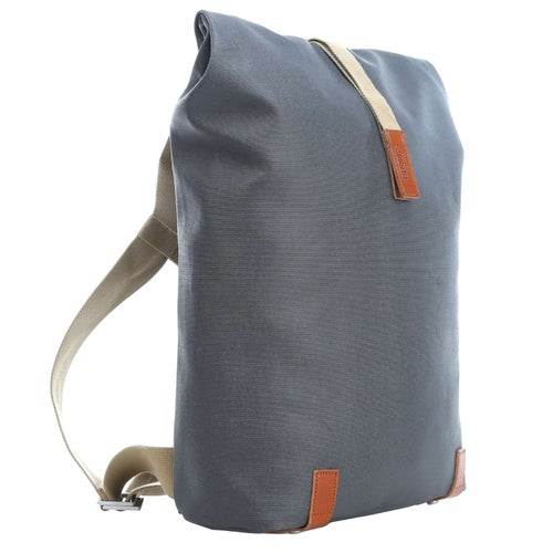 Brooks England Pickwick Canvas Leather Backpack - Grey