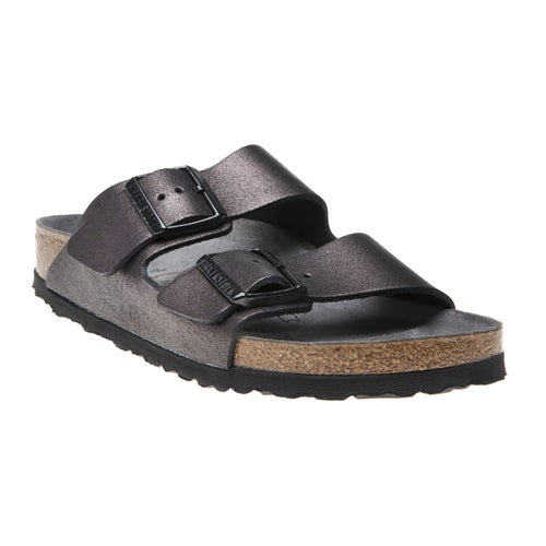 Birkenstock Arizona Washed Metalic Leather Sandals - Antique Black