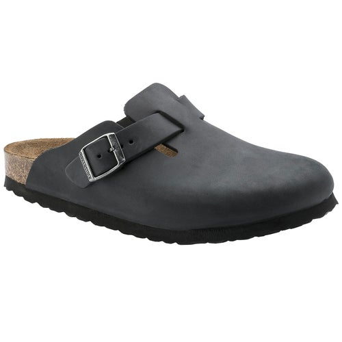 Birkenstock Boston Oiled Leather Slip On Shoes - Black