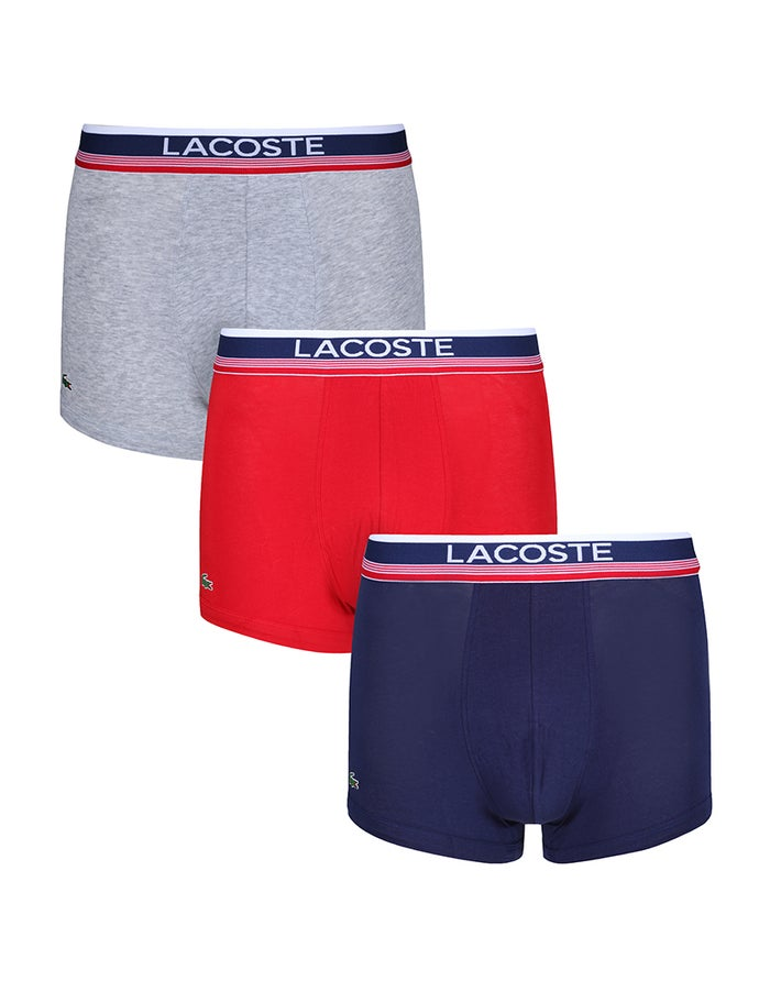 90df7f0215 Lacoste 3 Pack Colours Cotton Stretch Trunks Men's Brief - Medieval ...