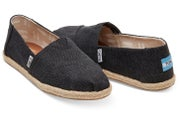 Black Washed Canvas Rope Sole