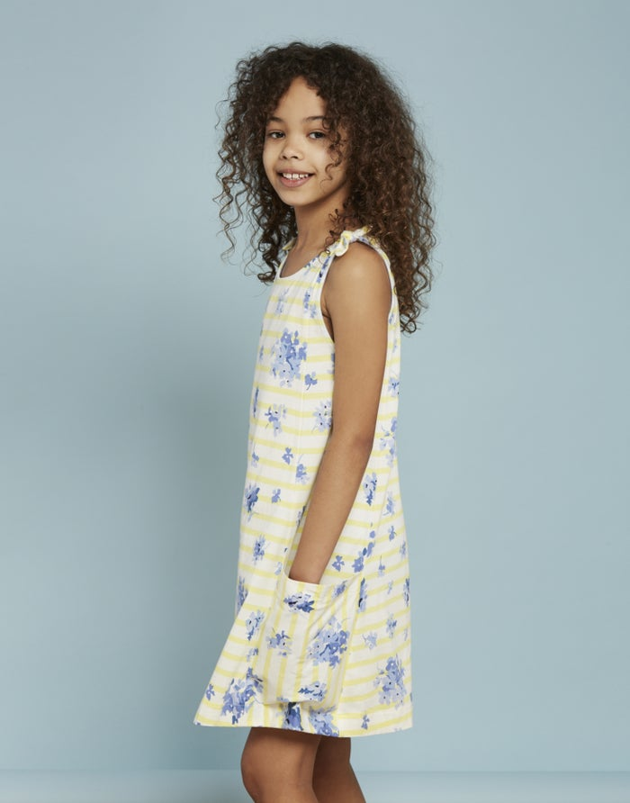 95a6234c6b85 Joules Madeline Jersey Girl's Dress - Yellow Sun Stripe | Country Attire