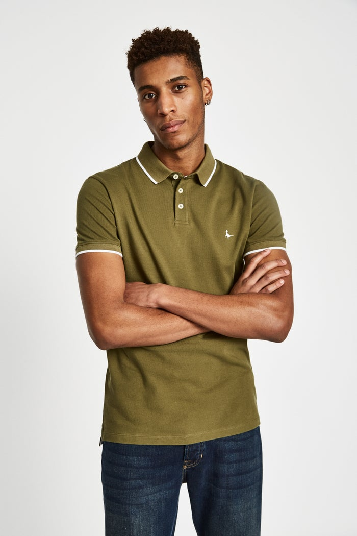 6c2cb71c354 Jack Wills Edgware Tipped Men's Polo Shirt - Olive | Country Attire