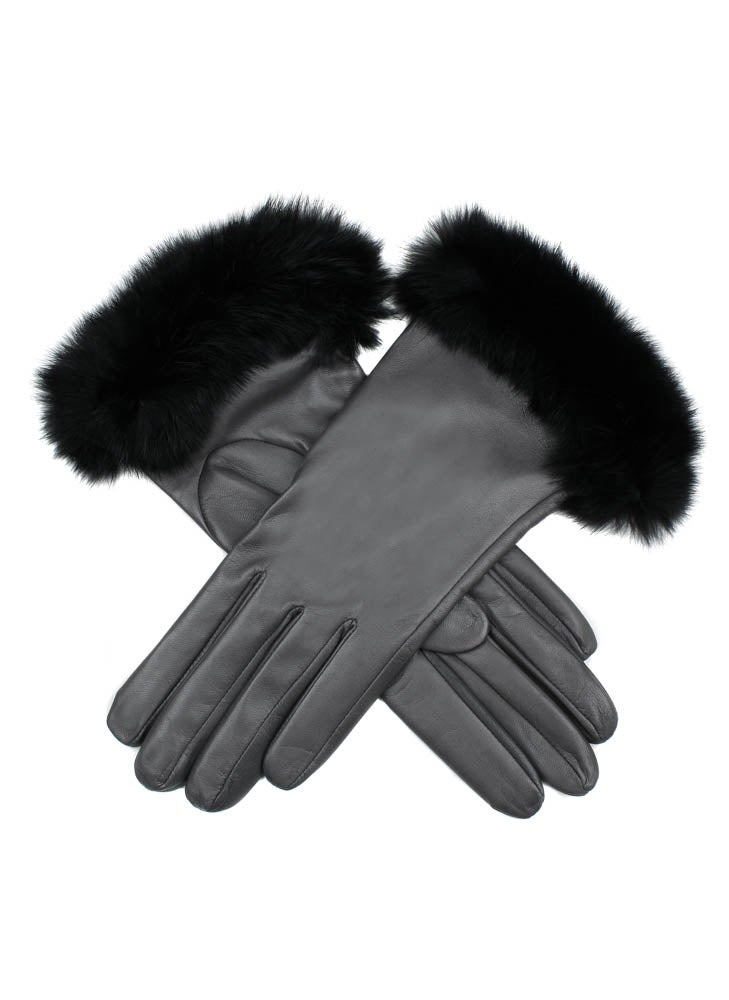 Dents Glamis Silk Lined Leatherwith Fur Cuffs Dame Modehandsker