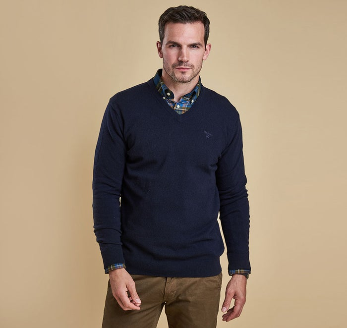 Barbour Essential Lambswool V Neck Mens Svetr