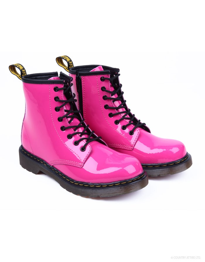 756064b39a551 Dr Martens Junior Delaney Girl's Boots - Hot Pink Patent | Country ...