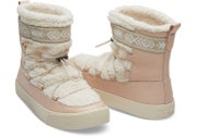 Dark Blush Leather Faux Shearling