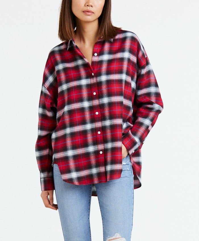 Camisa Mujer Levis Painter Shirt Chipmunk Obsidian Plaid