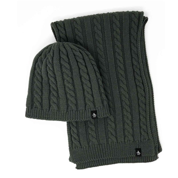 Penguin Cable Knit Scarf and Beanie
