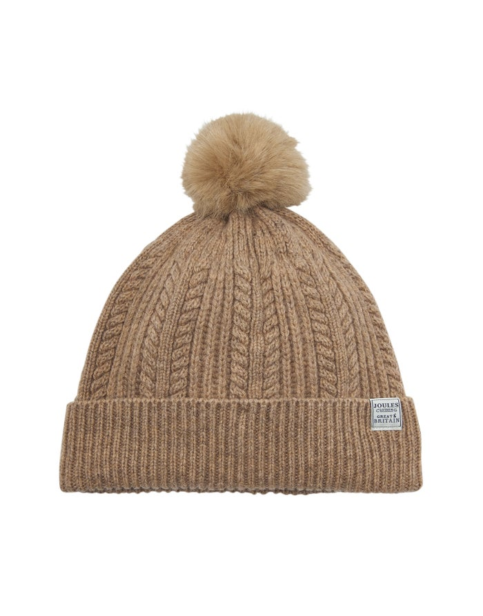 7ed45a7c00fd07 Joules Cable Knit Bobble Women's Beanie - Oatmeal | Country Attire