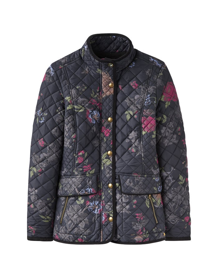 c108f82c1 Joules Newdale Print Quilted Women's Jacket - True Black | Country ...