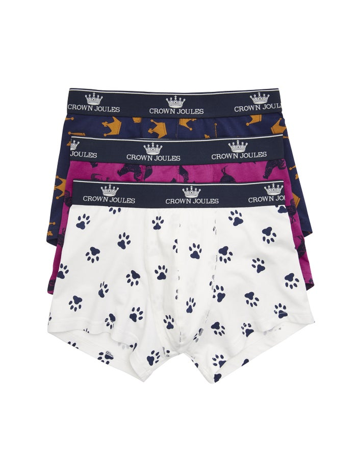 Joules Set Of Three Printed Crown Joules Herre Boxershorts