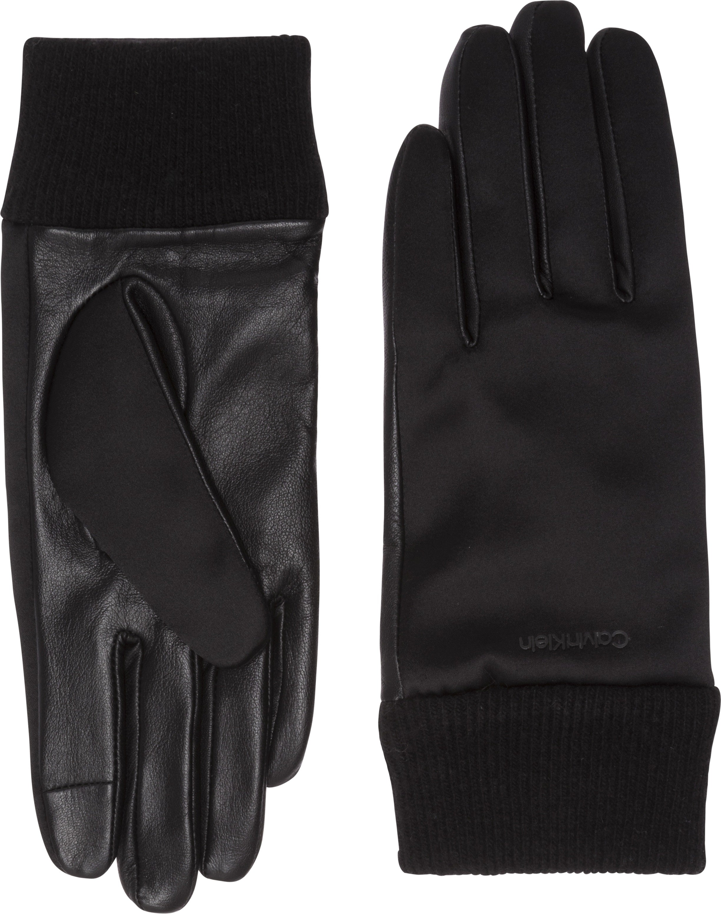 Calvin Klein Satin & Leather Women's Gloves