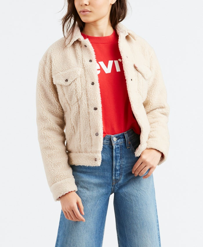 Levis All Over Sherpa Trucker Cloud Cream Women's Jacket