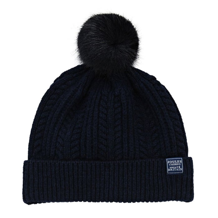 bd8c6b8b355599 Joules Cable Knit Bobble Women's Beanie - Navy | Country Attire