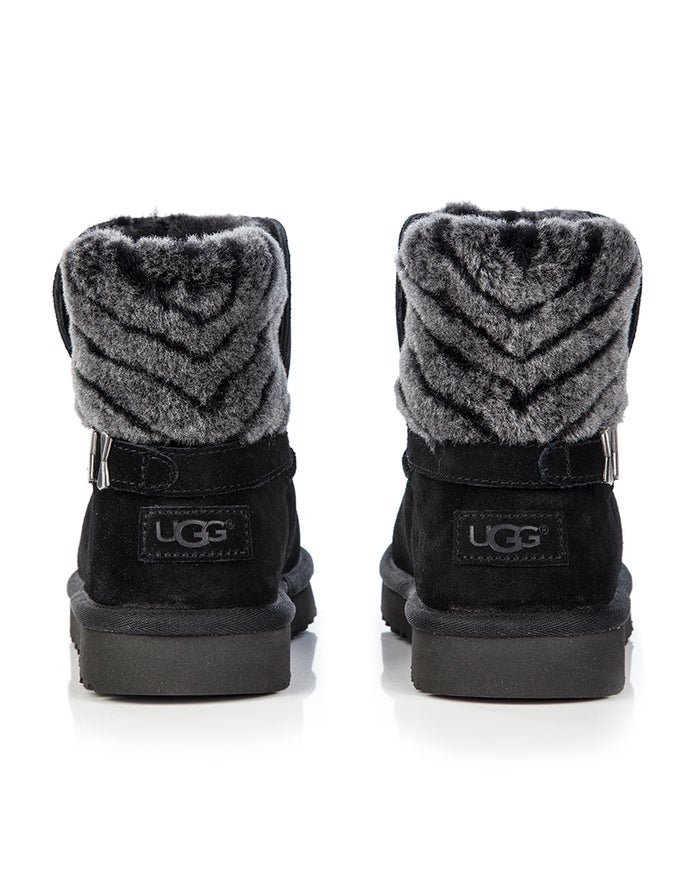 a8fbcac2eaa UGG Adria Stripe Fur Detail Ankle Women's Boots - Black | Country Attire