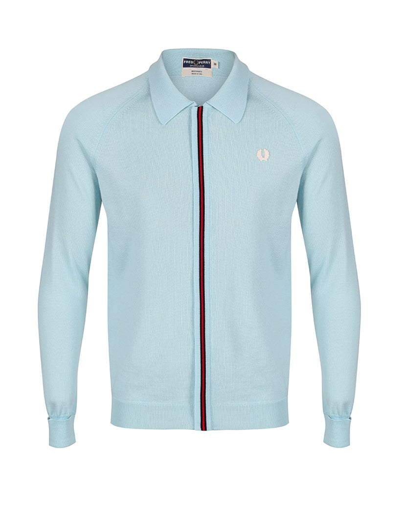 fred perry re issues zip through knitted hemd teal green. Black Bedroom Furniture Sets. Home Design Ideas