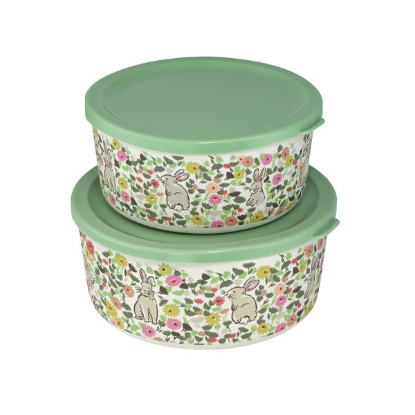 Cath Kidston Set Of Two Round Bamboo Dame Lunch Box