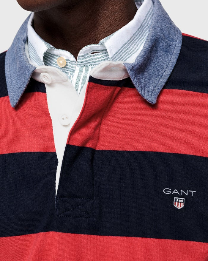 398cb50b6c6 Gant The Original Barstripe Heavy Rugger Rugby Top - Red | Country ...