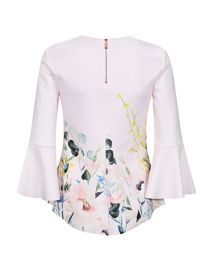Ted Baker Sky Elegant Print Fluted Sleeve Women's Top