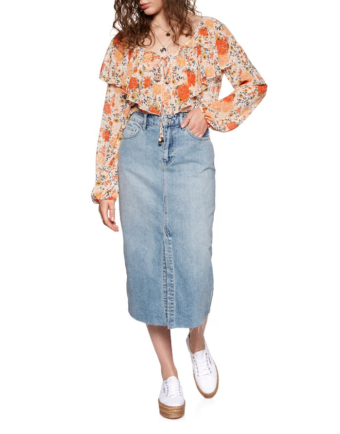aaec8af792 Free People Wilshire Women's Skirt - Light Denim | Country Attire
