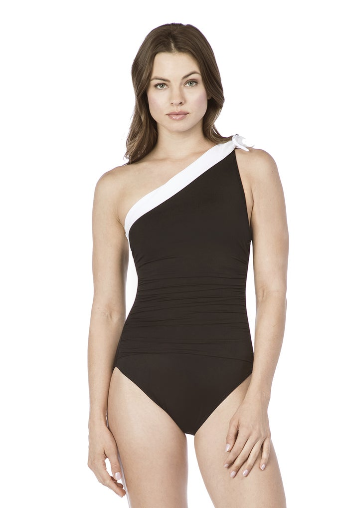 Ralph Lauren Bel Aire One Shoulder Tie 1 Piece Slimming Fit Women's Swimsuit
