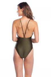 Polo Ralph Lauren Luster Solids Bungee Y-back 1 Piece Women's Swimsuit