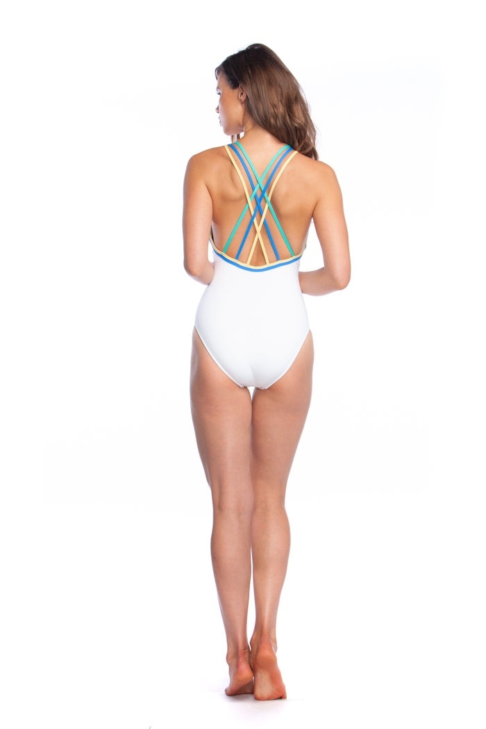 Polo Ralph Lauren Modern Solids Double Binding Multi Strap Women's Swimsuit