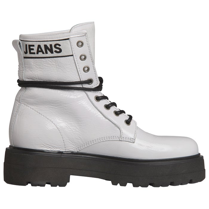 0bc3841ac5d Tommy Hilfiger Patent Leather Flatform Women's Boots - White ...