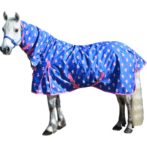 Dazzling Blue Fandango Pink Derby House Limited Edition Unicorn Pro Light Medium Combo Turnout Rug
