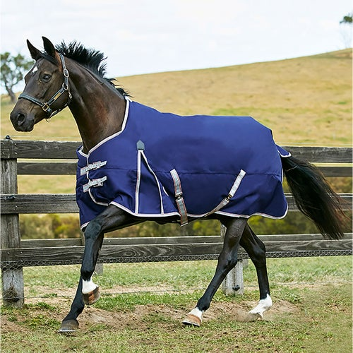 Weatherbeeta Comfitec Essential 50g Standard Neck Lite Plus Turnout Rug Navy Silver Red