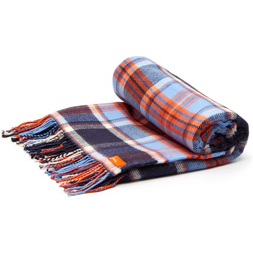 French Navy Check Joules Brushed Acrylic Picnic Blanket