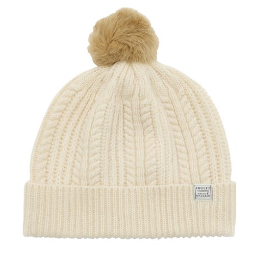 e56212bfd9a Joules Cable Knit Bobble Ladies Beanie - Creme