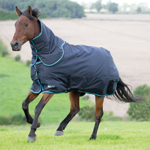 Shires Tempest Original 200 Rug And Neck Set Turnout Charcoal Turquoise