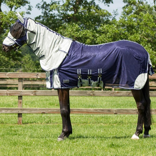 Qhp Anti Fly With Neck And Hood Rug Blue