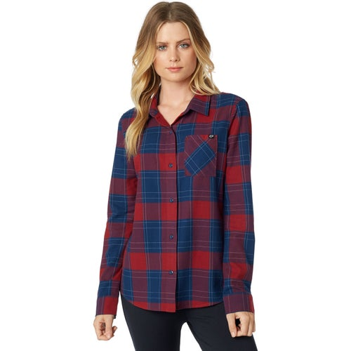 Fox Racing Kick It Flannel Womens Shirt - Dark Red