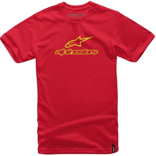 Alpinestars Always Short Sleeve T-Shirt - Red Hi Vis Yellow
