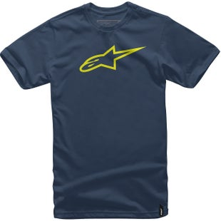 Alpinestars Ageless Classic Short Sleeve T-Shirt - Navy Hi Vis Yellow