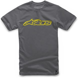 Alpinestars Blaze Short Sleeve T-Shirt - Charcoal Hi Vis Yellow