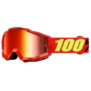 100 Percent Accuri Goggles Motocross Goggles - Saarinen - Mirror Red Lens