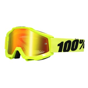 100 Percent Accuri Goggles Motocross Goggles - Fluo Yellow - Red Mirror Lens