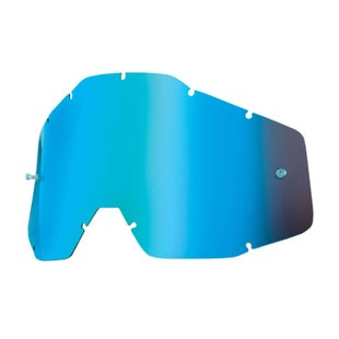 100 Percent Replacement Lens Accuri/racecraft/strata Motocross Goggle Lense - Mirror Blue Anti-fog W/posts