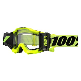 100 Percent Accuri Forecast System Motocross Goggles - Fluo Yellow ~ Clear Lens