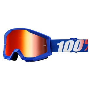 100 Percent Strata Goggles Motocross Goggles - Nation - Mirror Blue Lens