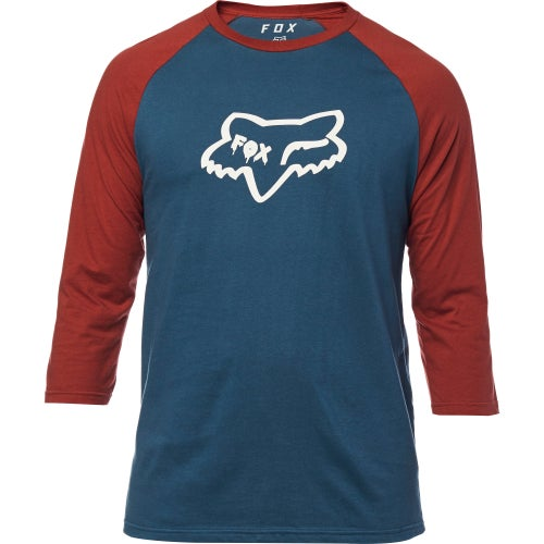 Fox Racing Czar Head Premium Raglan Short Sleeve T-Shirt - Navy Red