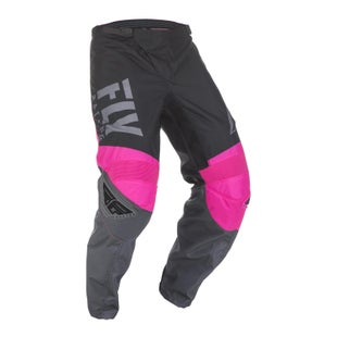 Fly F-16 Pants Youth Motocross Pants - Neon Pink Black Grey