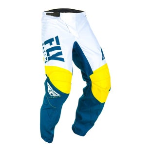 Fly F-16 Pants Youth MX Kalhoty - Yellow White Navy