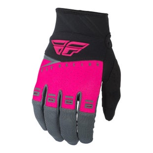 Fly F-16 Gloves Youth Motocross Gloves - Neon Pink Black Grey