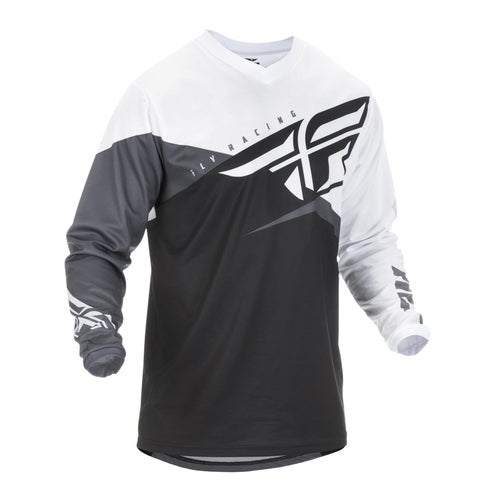 Fly F-16 Youth Jersey Motocross Jerseys - Black White Grey